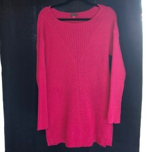 Vince Camuto Long Sweater Heavy Knit Hot Pink